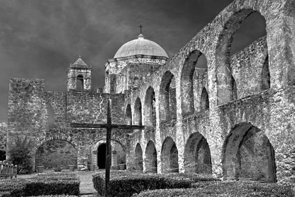 Mission San Jose Arches Bw Poster