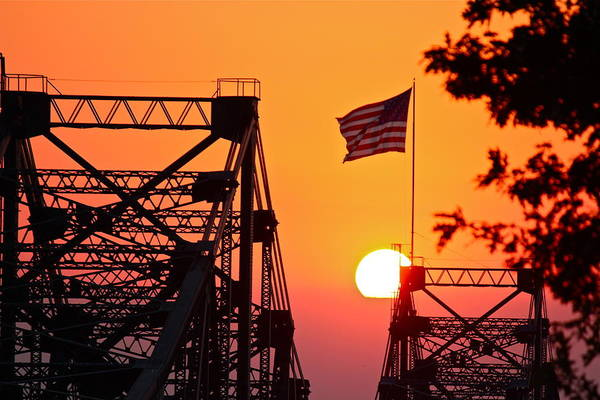 Mississippi River Bridge Sunset Poster