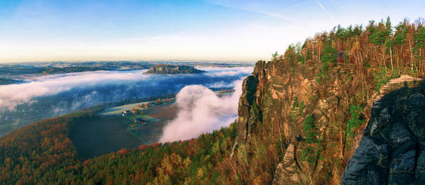 Mist Flow Around The Fortress Koenigstein Poster