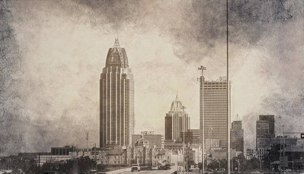 Mobile Alabama Black And White Poster