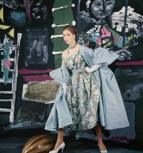 Model In Paper Taffeta Dress Poster