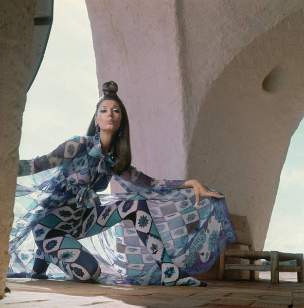 Model Wearing A Chiffon Voile Coat Poster