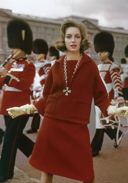 Model Wearing A Wool Outfit At Buckingham Palace Poster