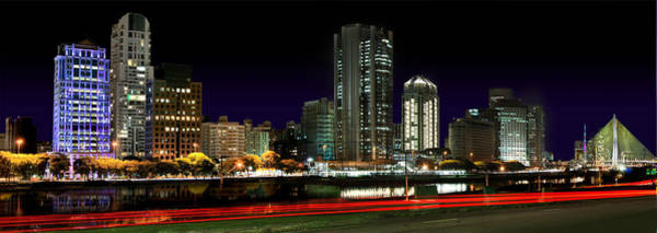 Modern Sao Paulo Skyline Near Brooklin District And Stayed Bridge Poster