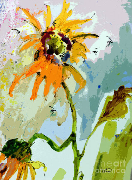 Modern Sunflowers And Bees Art Poster