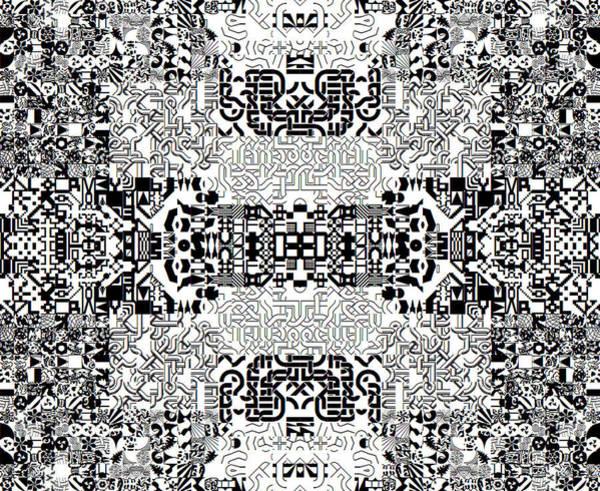 Monochrome Geometric Random Glyphs Poster