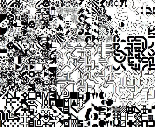Monochrome Random Glyphs Poster