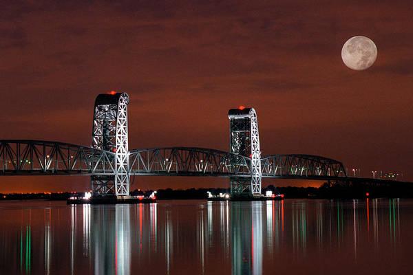 Moon Over Marine Parkway Bridge - Gil Hodges Memorial Bridge Poster