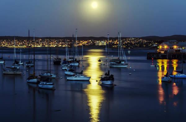 Moon Over Monterey Bay Poster