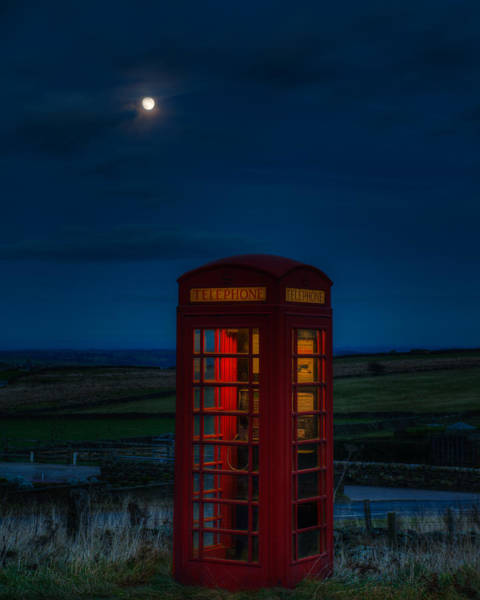 Moon Over Telephone Booth Poster