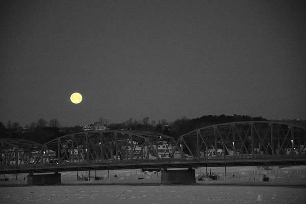 Moon Over The Steel Bridge Poster