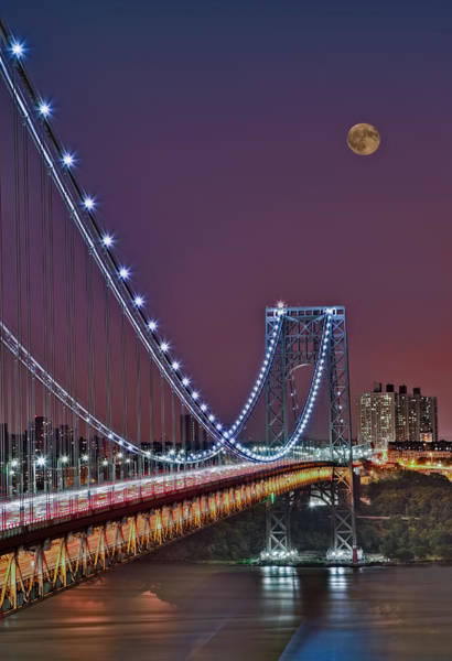 Moon Rise Over The George Washington Bridge Poster