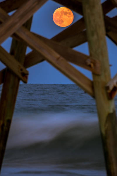 Poster featuring the photograph Moon Rise Under Pier by Francis Trudeau