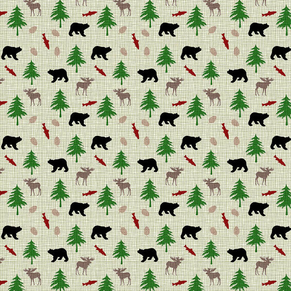 Moose And Bear Pattern Poster
