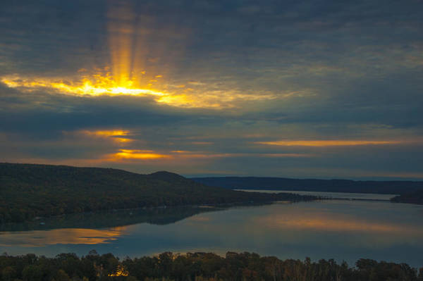 Morning Beams Over Glen Lake Poster