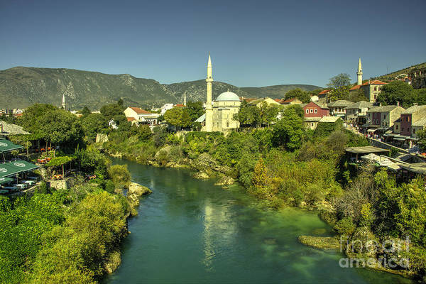 Mostar River And Mosque  Poster
