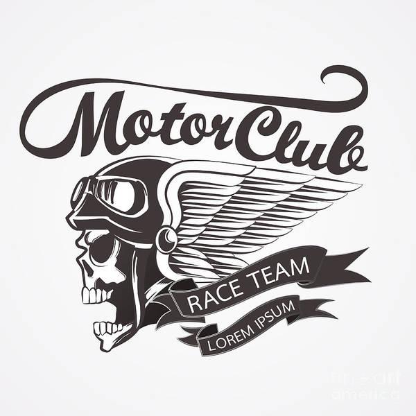 Motor Skull Crest Graphic. - Vector Poster