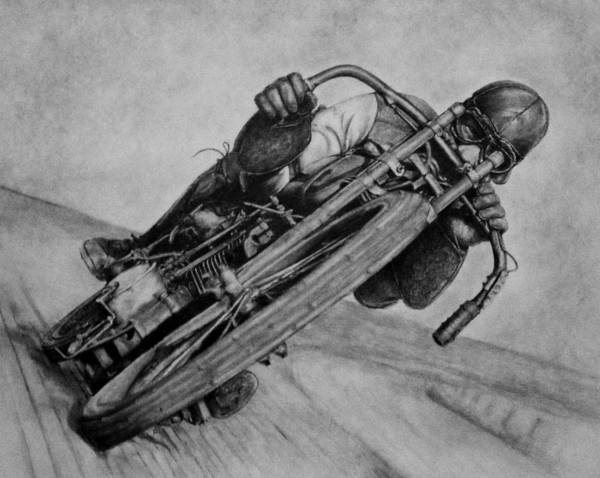 Poster featuring the drawing Motorcycle Man by Penny Collins