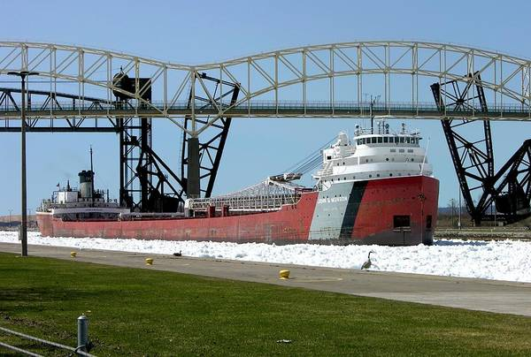 Moving Through The Ice To The Soo Locks Poster