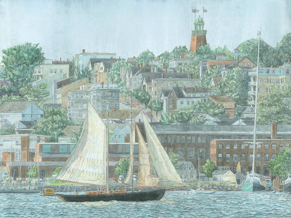 Poster featuring the drawing Munjoy Hill by Dominic White