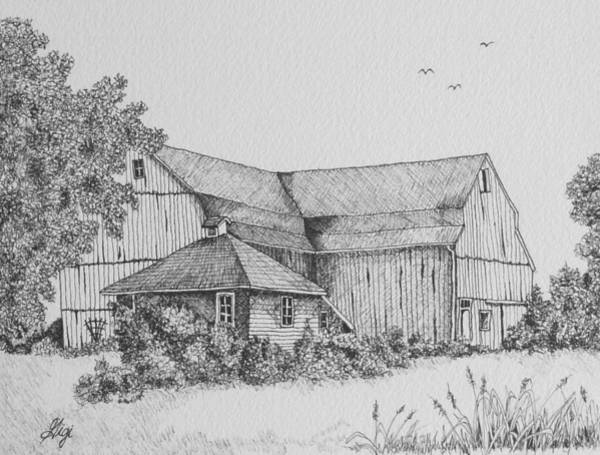 Poster featuring the drawing My Barn by Gigi Dequanne