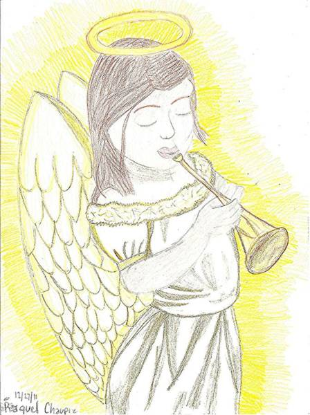 Poster featuring the drawing My Guardian Angel by Fred Hanna