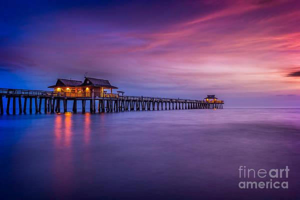 Naples Pier Purple Sunset Poster