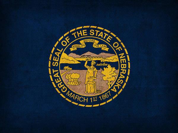 Nebraska State Flag Art On Worn Canvas Poster