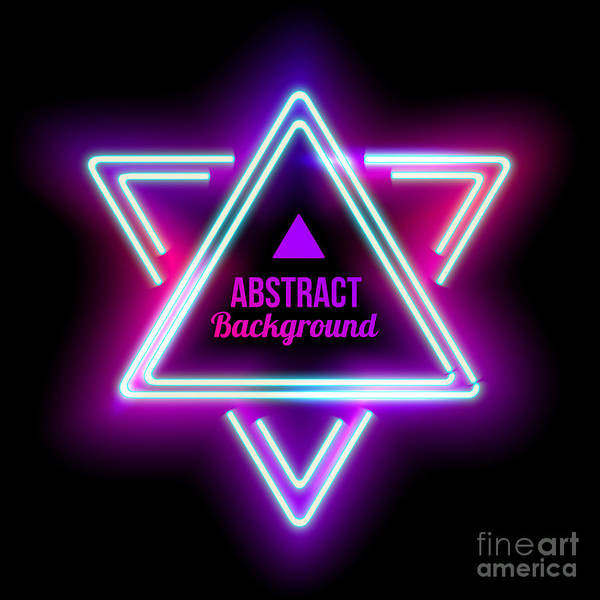 Neon Abstract Triangle. Glowing Frame Poster