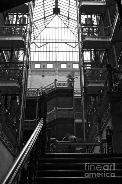 Interior Study In Black And White Of  The Bradbury Building Downtown La Poster