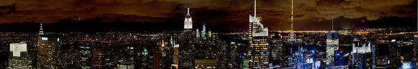New York At Night Panorama Poster