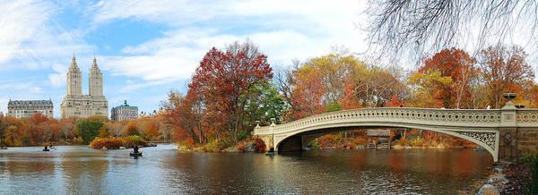 New York City Manhattan Central Park Panorama At Autumn Poster