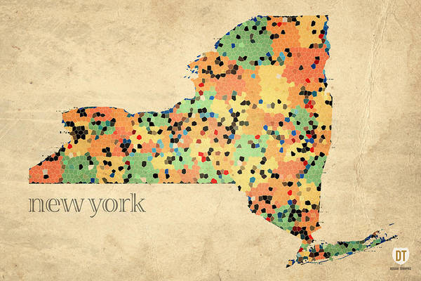 New York State Map Crystalized Counties On Worn Canvas By Design Turnpike Poster