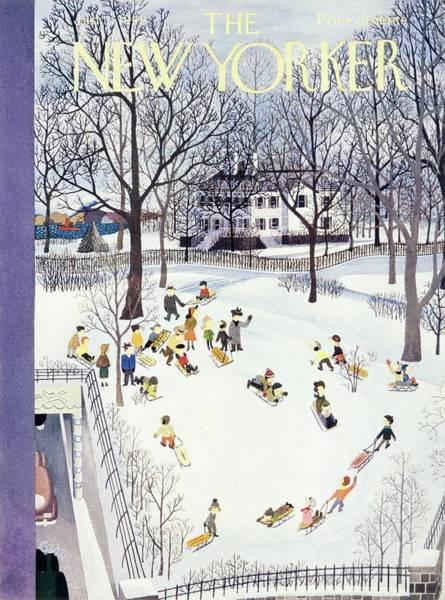 New Yorker Magazine Cover Of Children Sleigh Poster