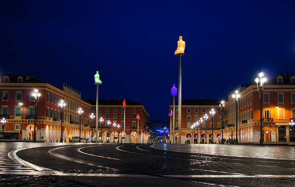 Nice France - Place Massena Blue Hour  Poster