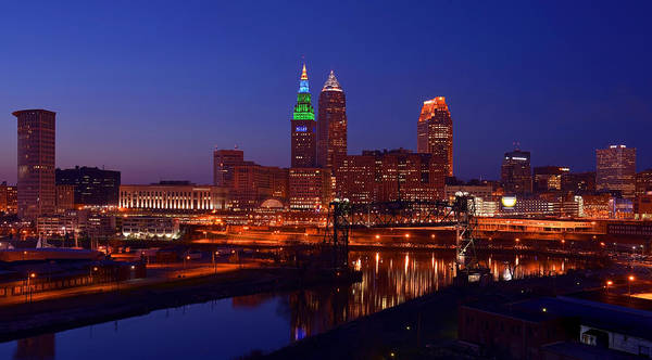Night Cleveland Skyline From The South Poster