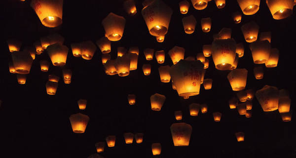 Night View Of Sky Lanterns In The Air Poster