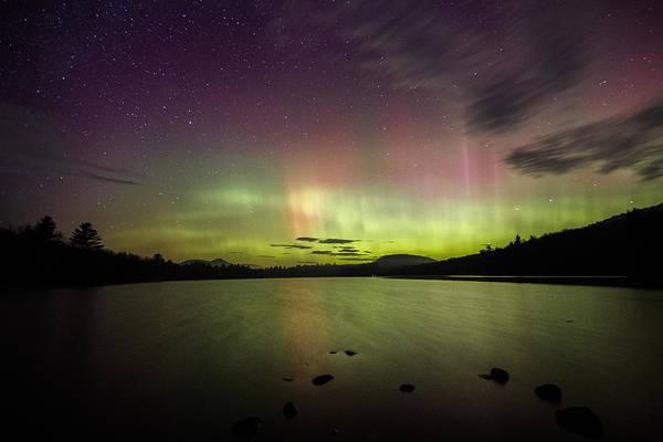 Northern Lights Over Ricker Pond Poster