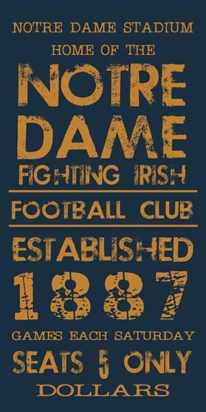 Notre Dame Stadium Sign Poster