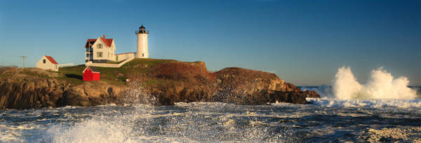 Nubble Light With Rough Seas Poster