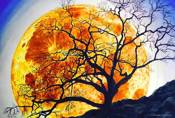 Oak Tree Moonrise Poster