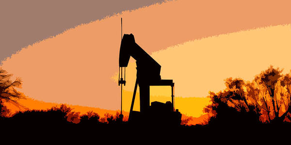 Oil Pump In Sunset Poster
