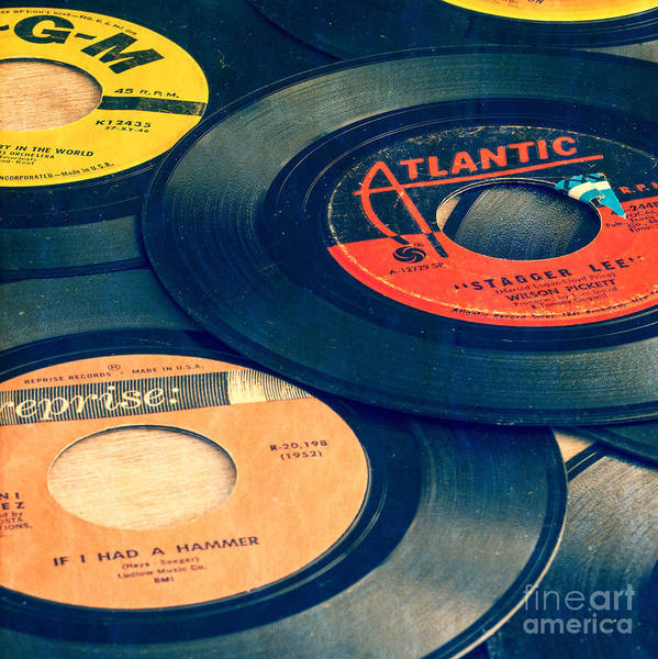 Old 45 Records Square Format Poster