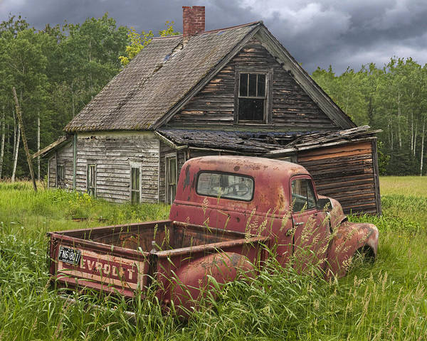 Old Abandoned Homestead And Truck Poster
