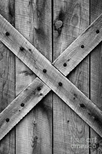 Old Barn Door In Black And White Poster