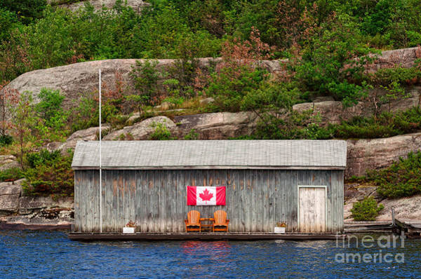 Old Boathouse With Two Muskoka Chairs Poster