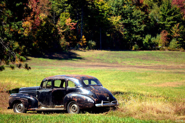Old Car In A Meadow Poster