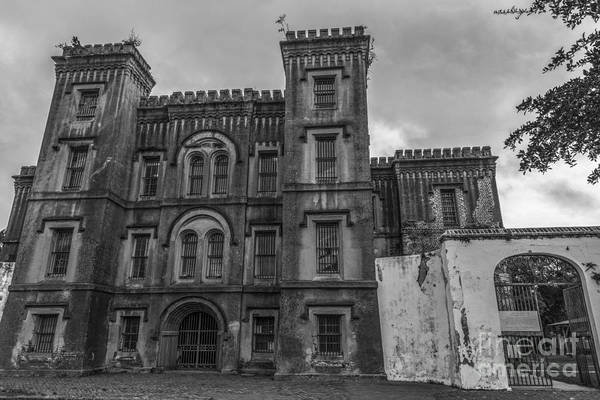 Old City Jail In Black And White Poster