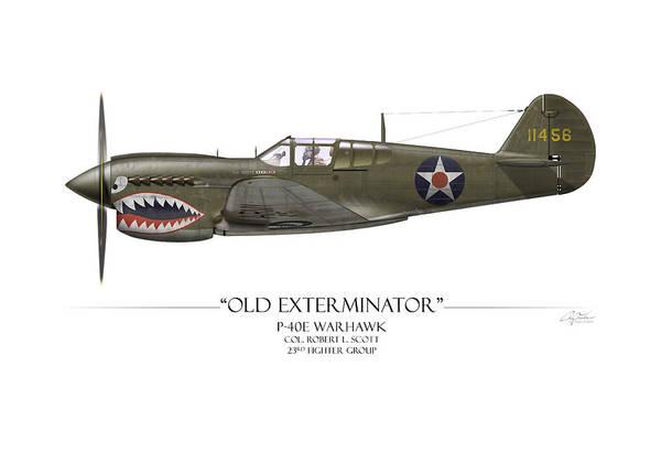 Old Exterminator P-40 Warhawk - White Background Poster