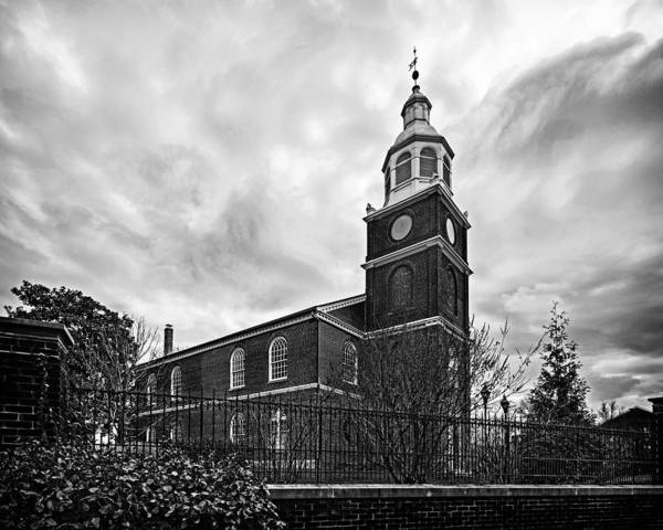 Old Otterbein Church In Black And White Poster